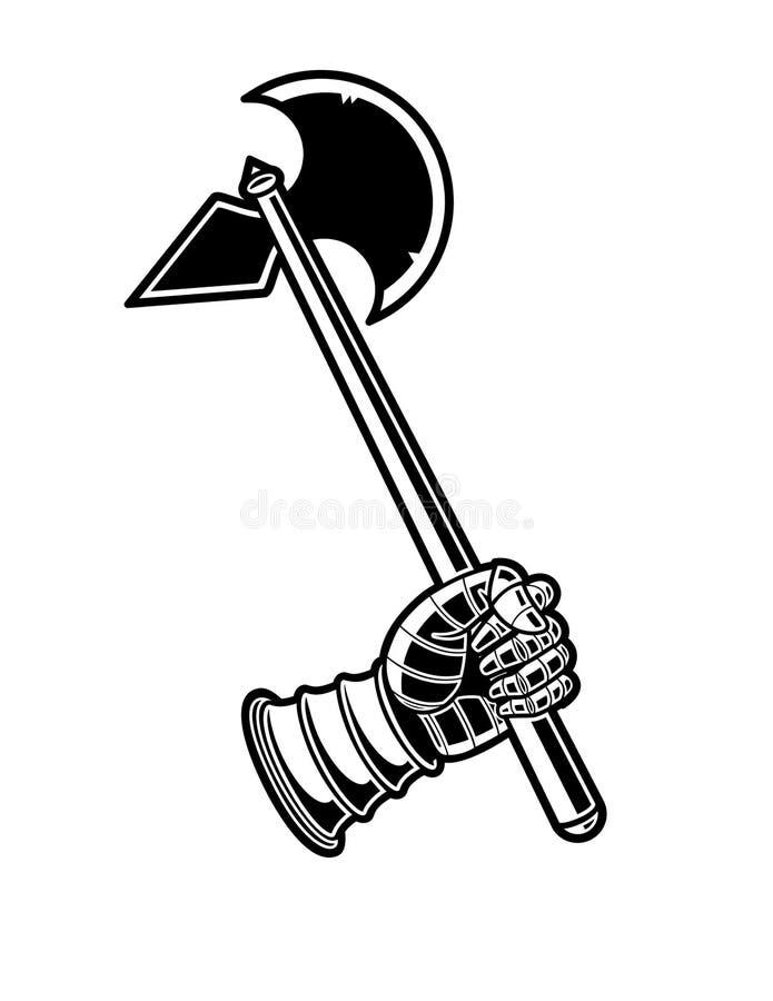 Icono blanco y negro del vector del hacha medieval libre illustration