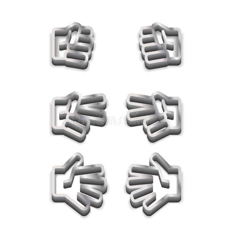 Icono blanco y negro metálico del piedra papel o tijera del juego de los niños en el fondo blanco stock de ilustración