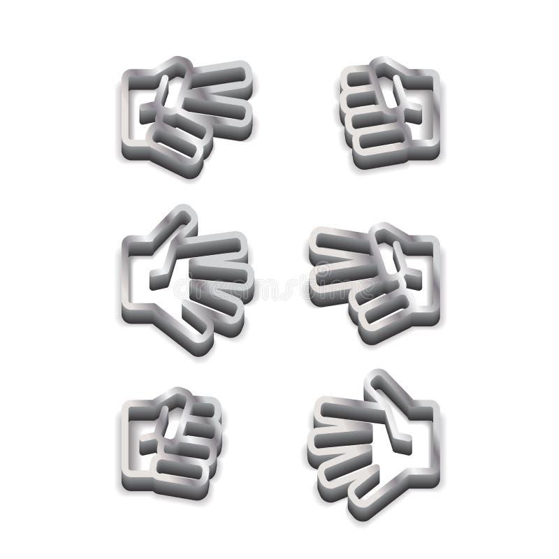 Icono blanco y negro metálico del piedra papel o tijera del juego de los niños en el fondo blanco libre illustration