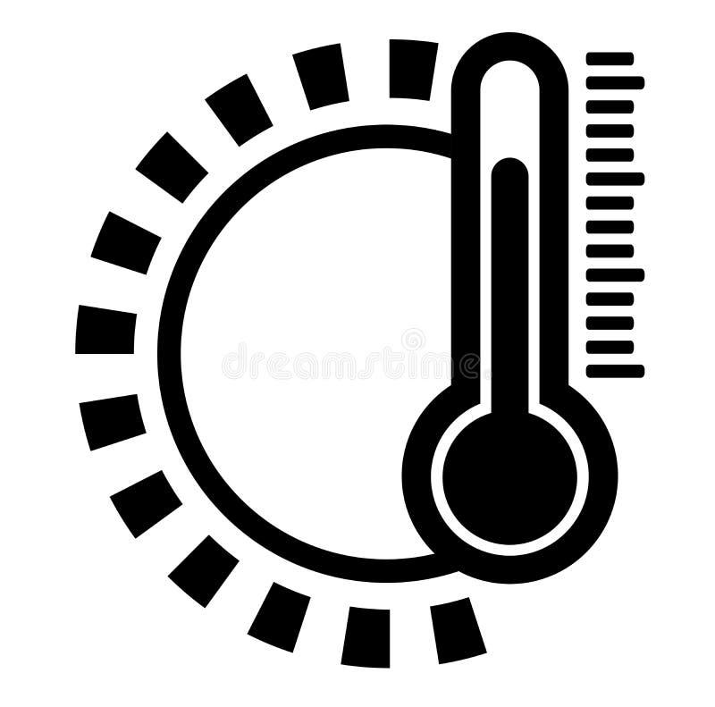 Icono blanco y negro plano simple de la temperatura del tiempo con forma del sol y el termómetro de aire libre illustration