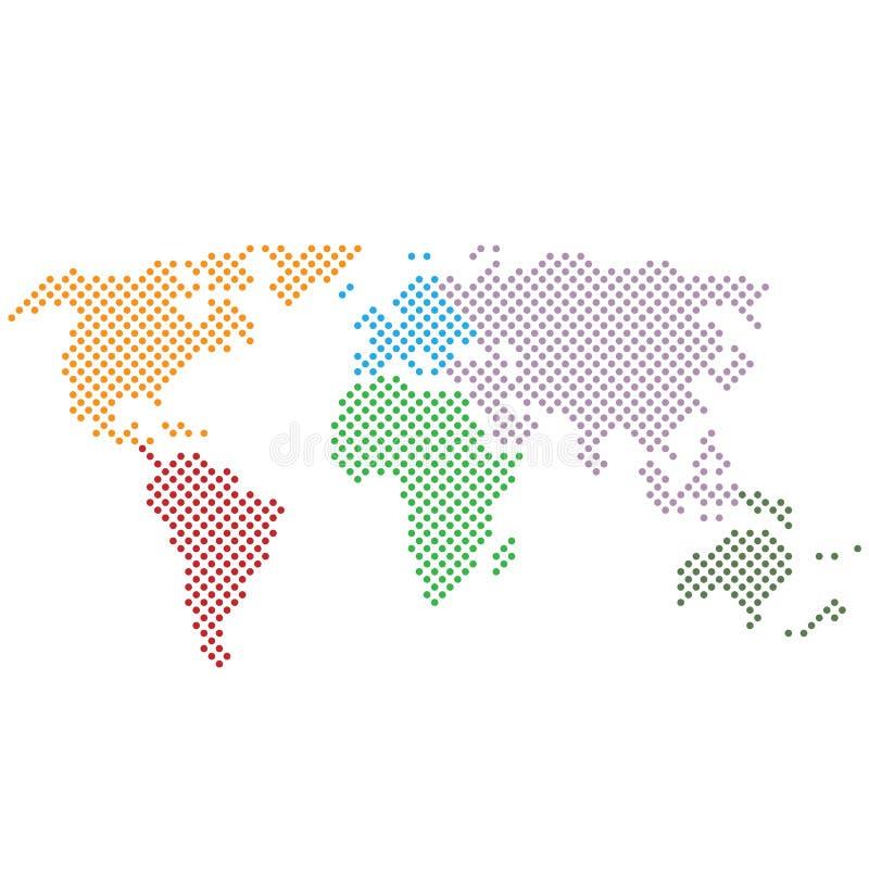 Icono blanco y negro punteado extracto simple del mapa del mundo ilustración del vector