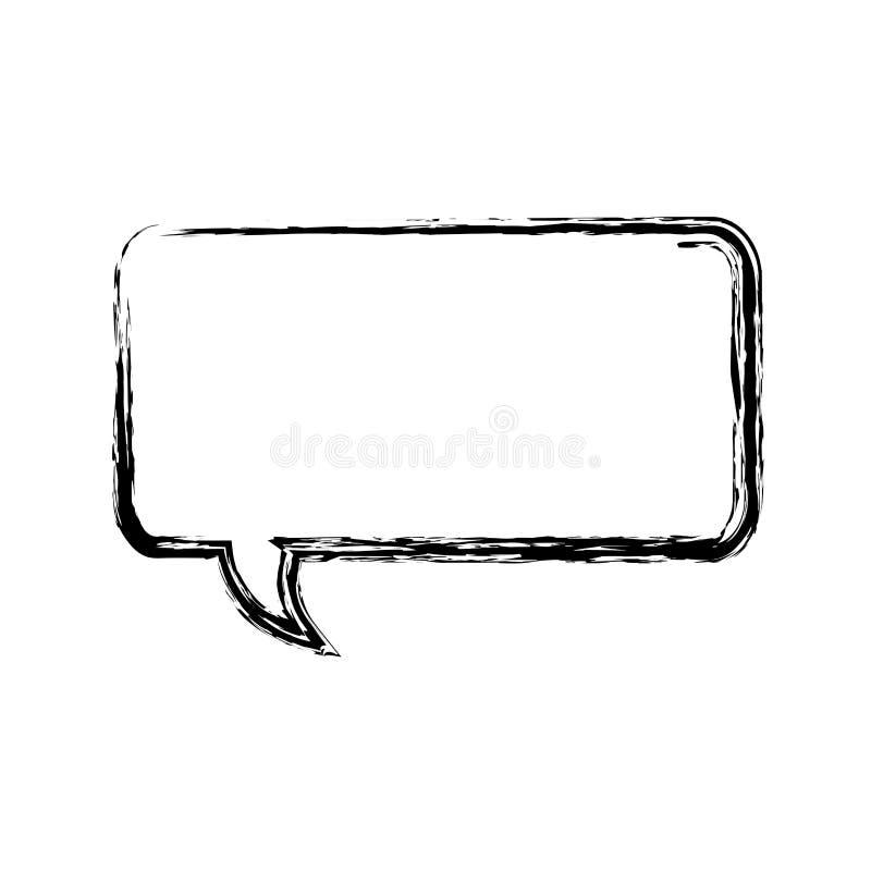 icono borroso del cuadro de diálogo del rectángulo de la silueta stock de ilustración