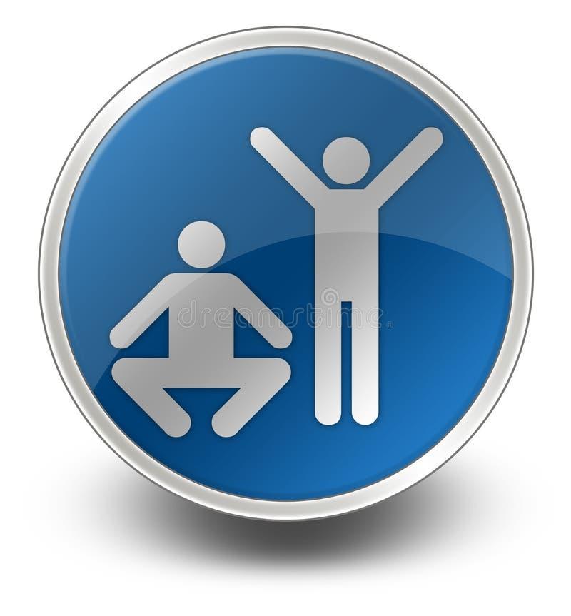 Icono, botón, ejercicio del pictograma, aptitud stock de ilustración