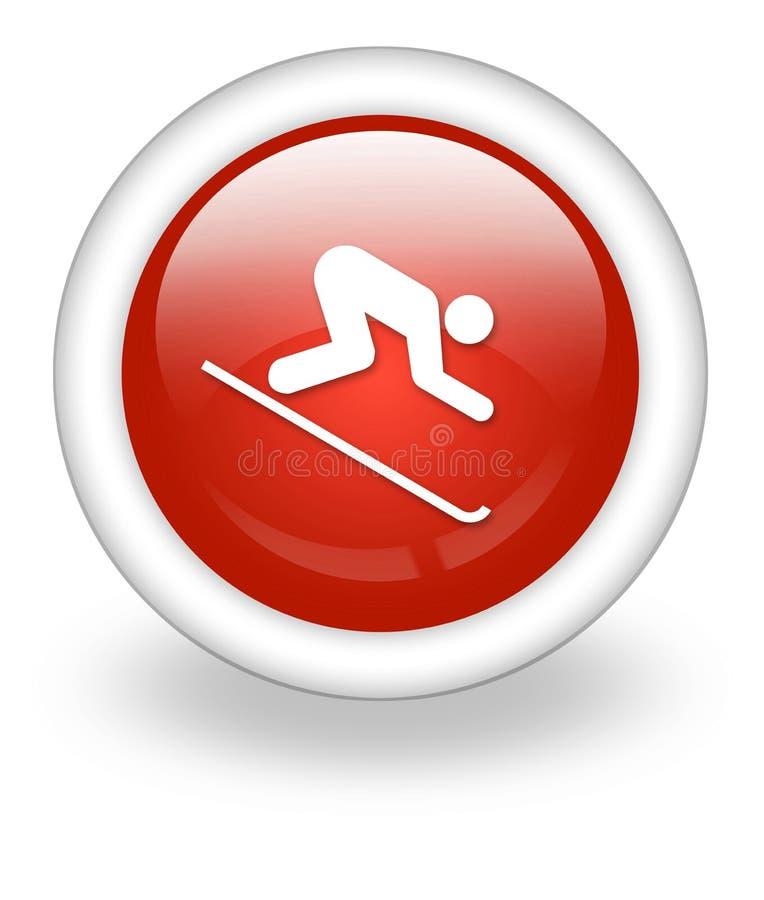 Icono, botón, esquí alpino del pictograma ilustración del vector