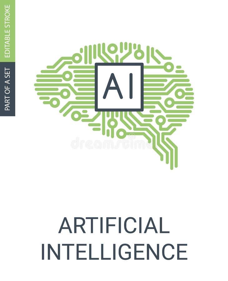 Icono Brain Shaped Circuit Icon humano de la inteligencia de IcoBlockchainArtificial stock de ilustración