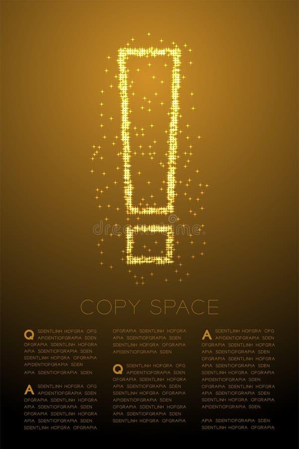 Icono brillante abstracto de la muestra de la marca de exclamación del modelo de estrella de Bokeh, ejemplo de color oro de cuida ilustración del vector