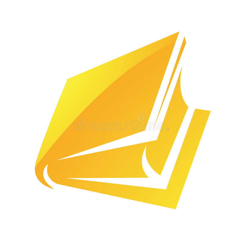 Icono brillante amarillo del libro ilustración del vector