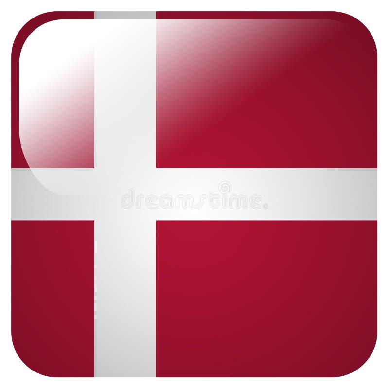 Icono brillante con la bandera de Dinamarca stock de ilustración