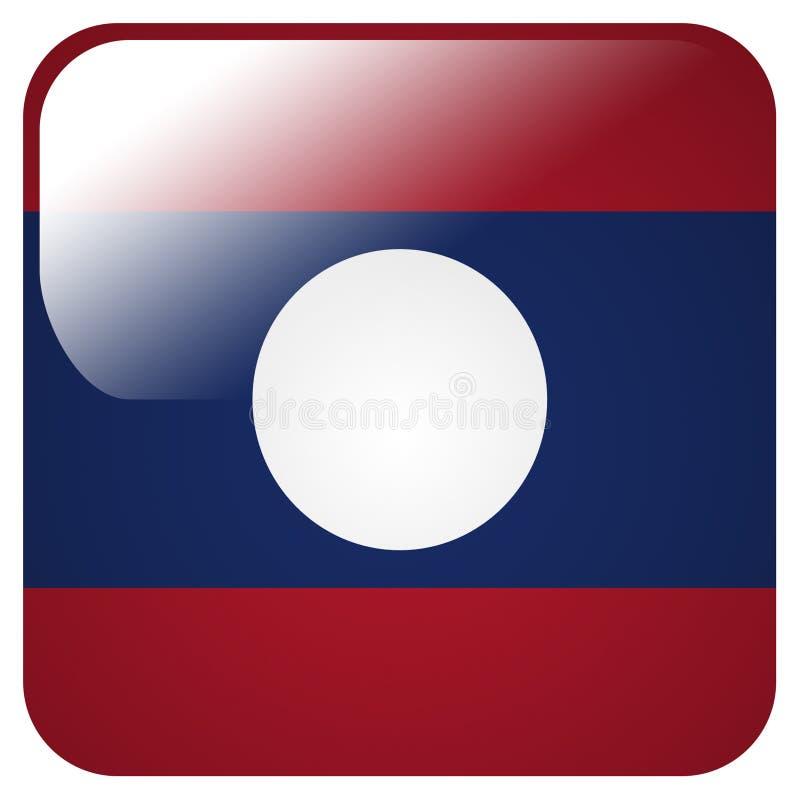 Icono brillante con la bandera de Laos libre illustration