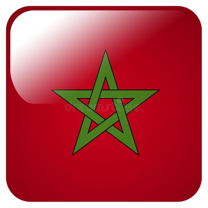 Icono brillante con la bandera de Marruecos ilustración del vector