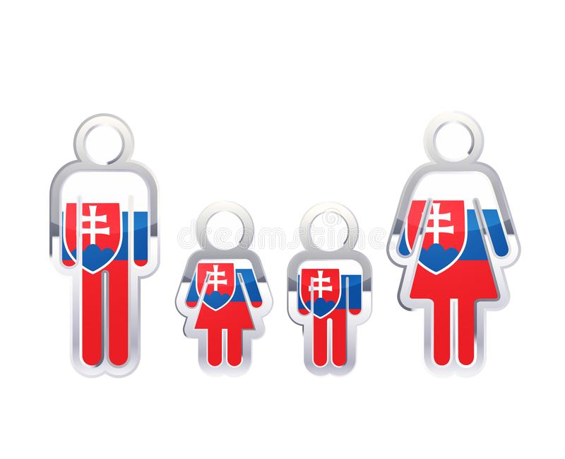 Icono brillante de la insignia del metal en formas del hombre, de la mujer y de los niños con la bandera de Eslovaquia, elemento  ilustración del vector