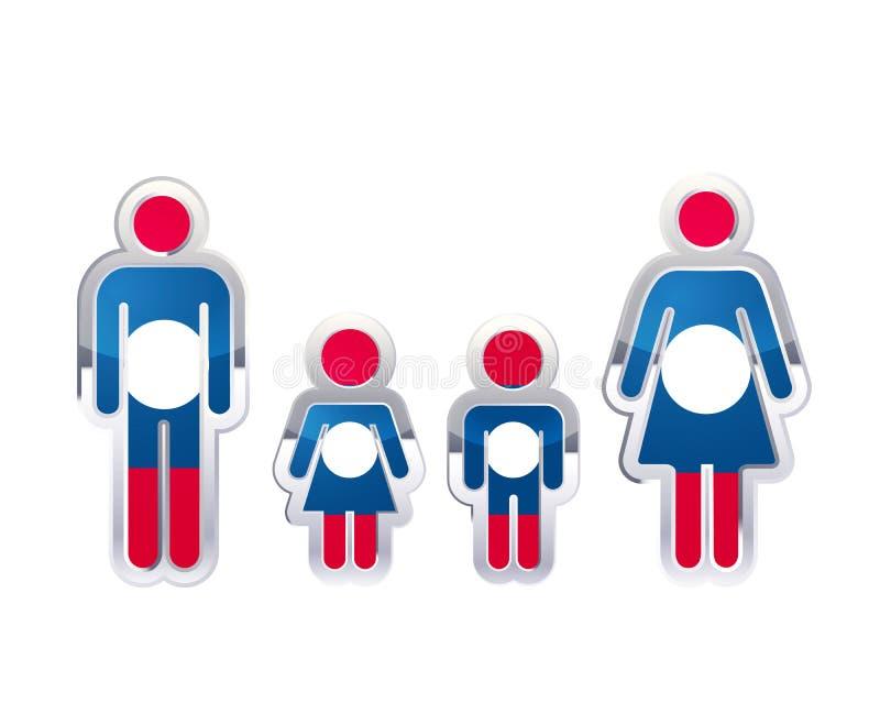 Icono brillante de la insignia del metal en formas del hombre, de la mujer y de los niños con la bandera de Laos, elemento infogr ilustración del vector