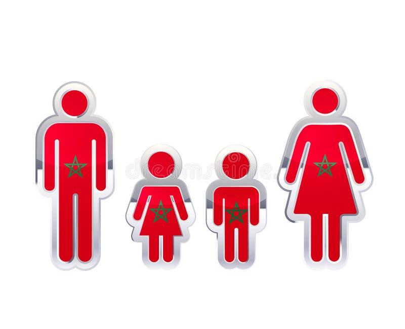 Icono brillante de la insignia del metal en formas del hombre, de la mujer y de los niños con la bandera de Marruecos, elemento i libre illustration