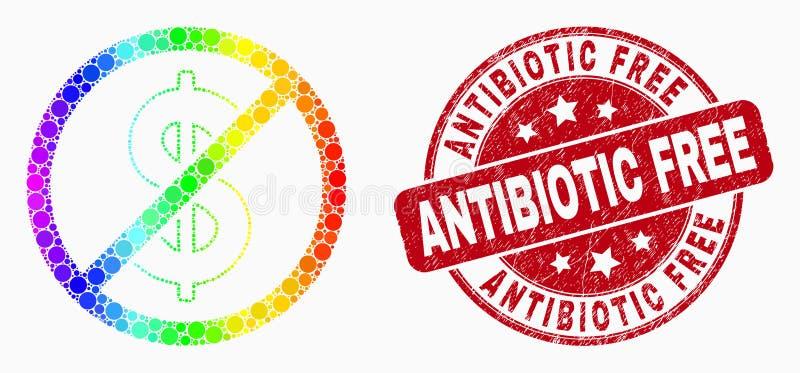 Icono brillante del dólar de la parada del pixel del vector y sello libre antibiótico rasguñado del sello stock de ilustración