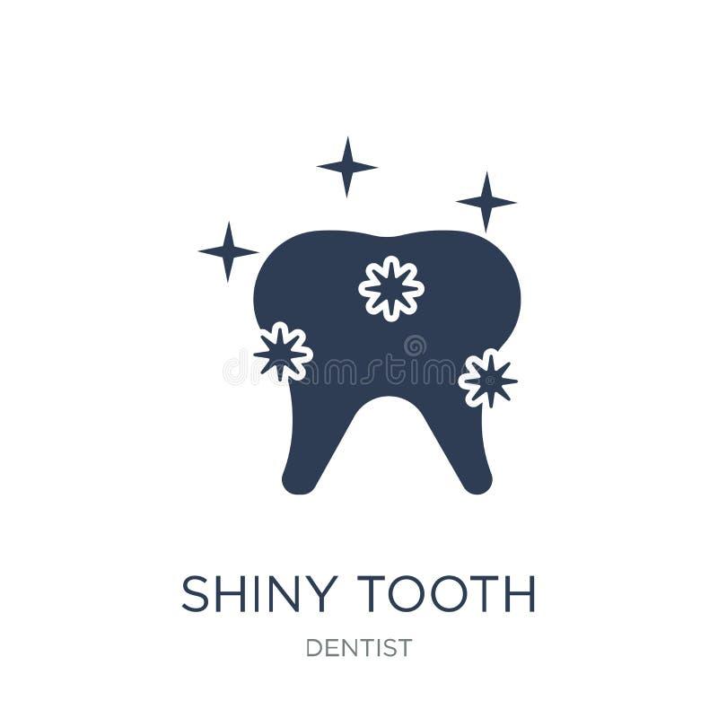 Icono brillante del diente Icono brillante del diente del vector plano de moda en b blanco stock de ilustración