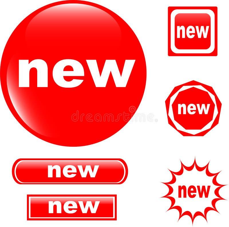Icono brillante del NUEVO Web del botón stock de ilustración