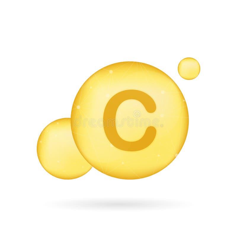 Icono brillante del oro de la vitamina C Ácido ascórbico Ilustración del vector imagen de archivo