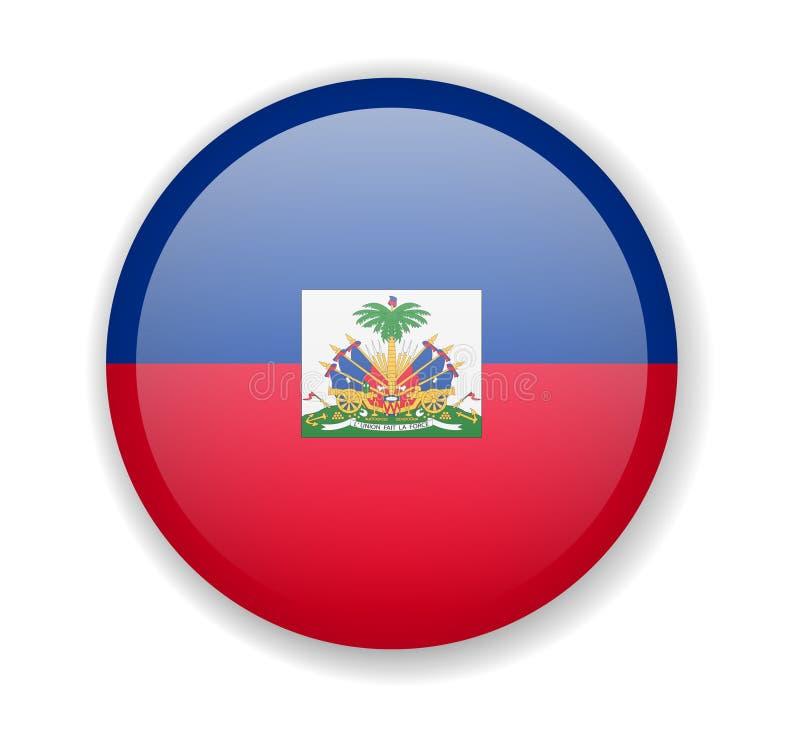 Icono brillante redondo de la bandera de Haití en un fondo blanco libre illustration