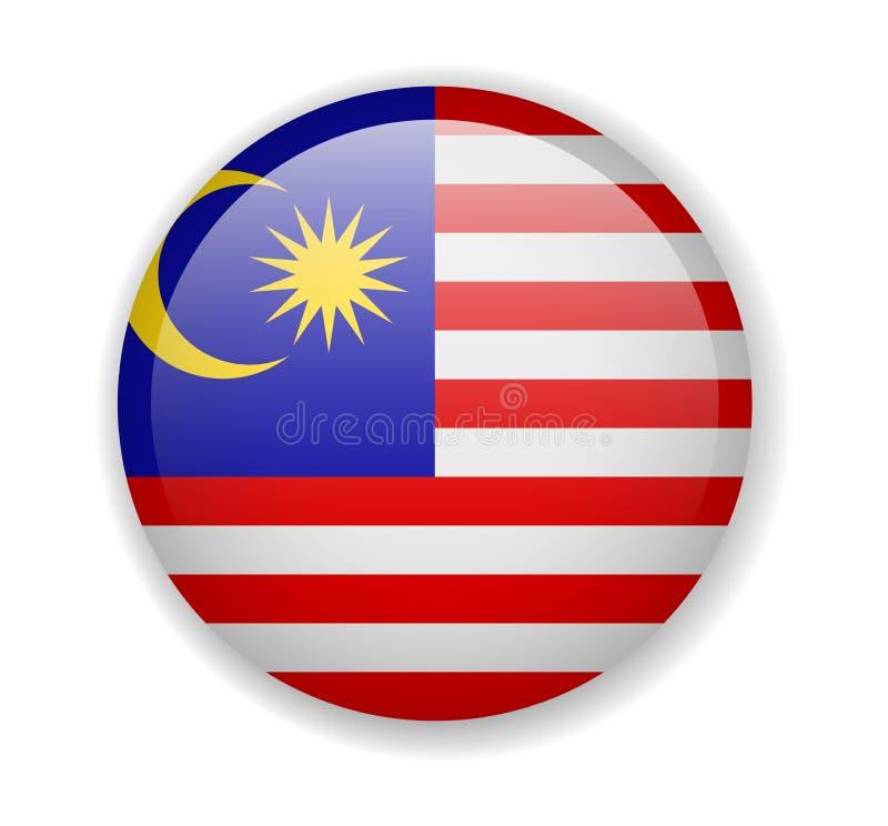 Icono brillante redondo de la bandera de Malasia en un fondo blanco libre illustration