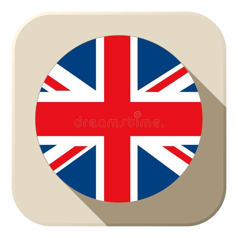 Icono BRITÁNICO del botón de la bandera moderno ilustración del vector