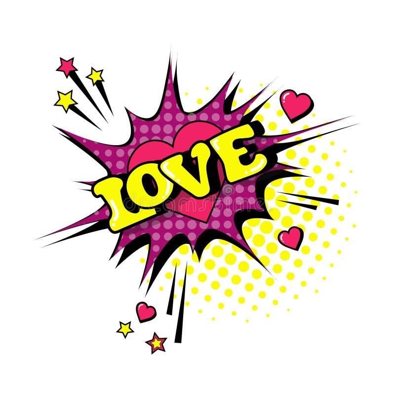 Icono cómico de Art Style Love Expression Text del estallido de la burbuja de la charla del discurso stock de ilustración