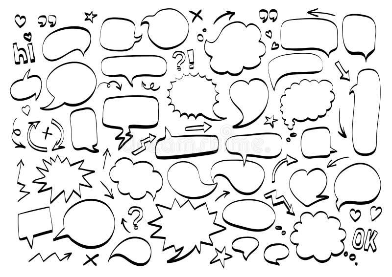 Icono cómico del garabato de la burbuja del discurso, mensaje de texto Elementos del diseño de la historieta stock de ilustración
