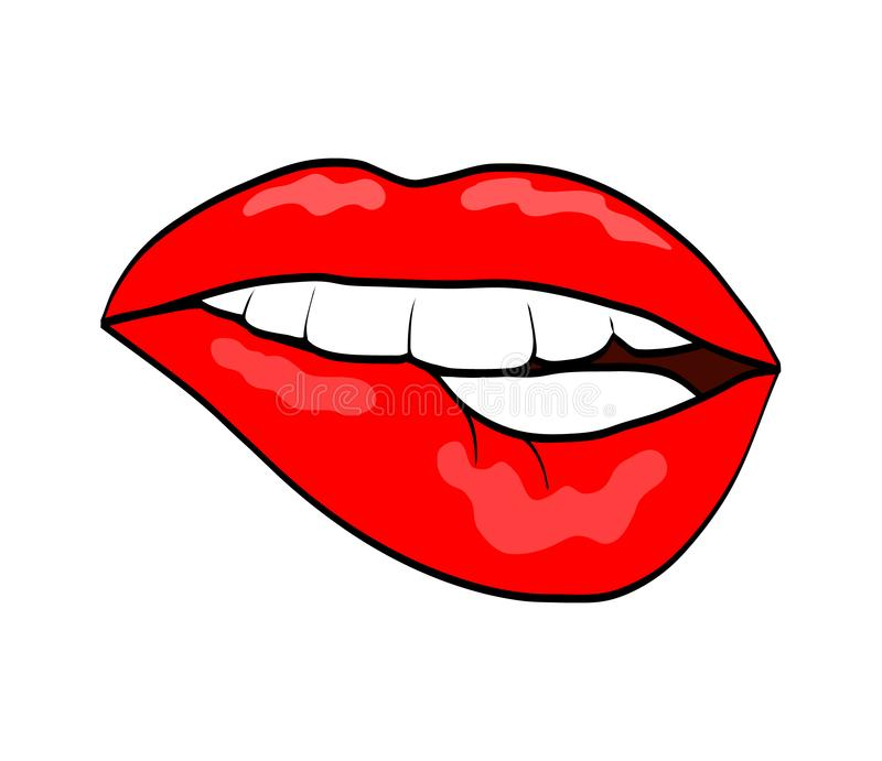 Icono cómico retro penetrante del estilo del arte pop de los labios rojos aislado en blanco ilustración del vector
