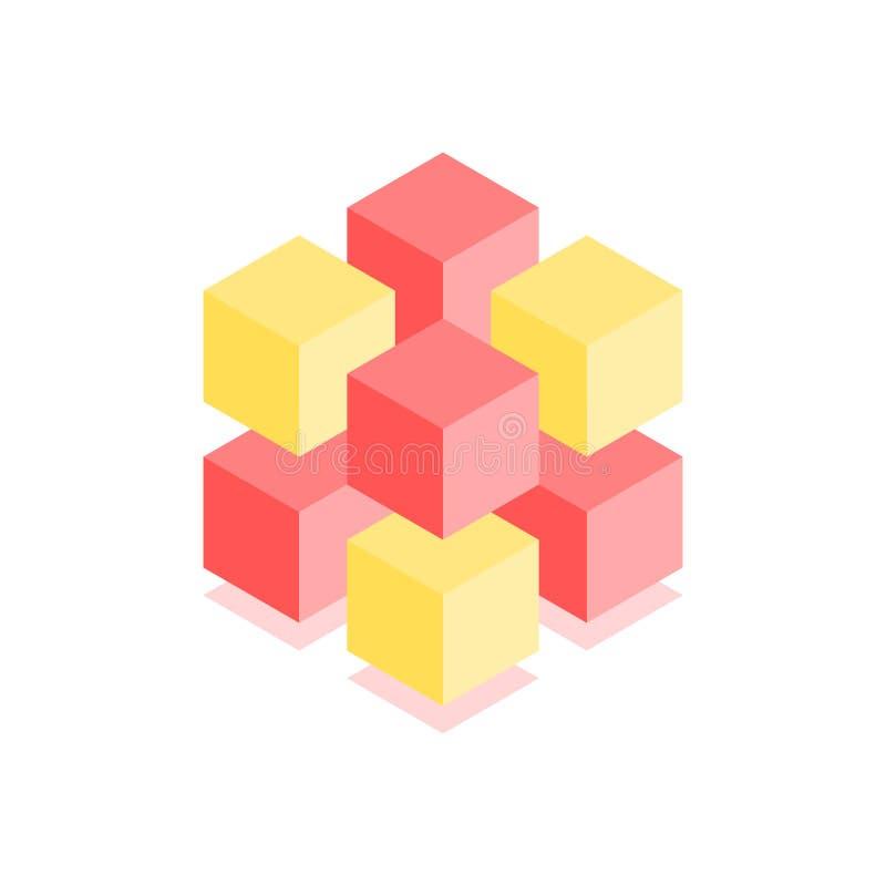 Icono cúbico abstracto El ejemplo isométrico para las cubiertas diseña en el estilo plano 3D Logotipo geométrico del vector ilustración del vector