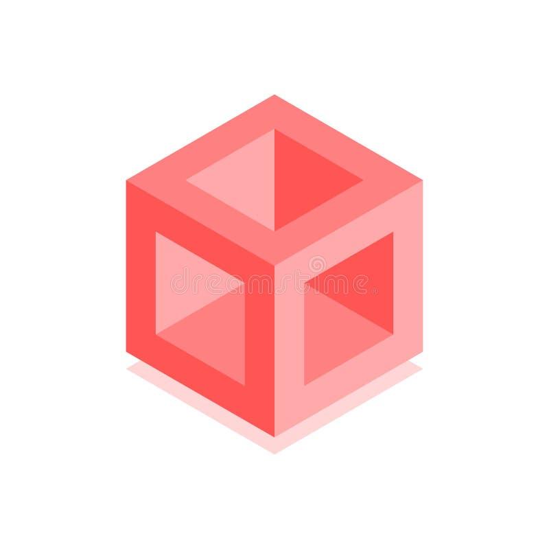 Icono cúbico abstracto El ejemplo isométrico para las cubiertas diseña en el estilo plano 3D Logotipo geométrico del vector stock de ilustración