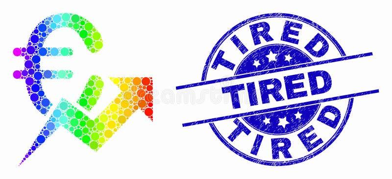 Icono cada vez mayor de la tendencia del euro brillante del pixel del vector y sello cansado rasguñado ilustración del vector