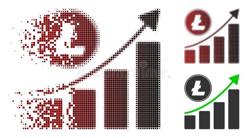 Icono cada vez mayor de semitono punteado de desintegración de la tendencia de la carta de Litecoin ilustración del vector