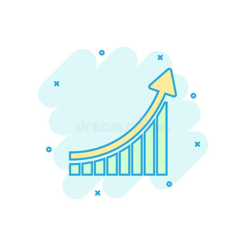 Icono cada vez mayor del gráfico de barra en estilo cómico Pictograma del ejemplo de la historieta del vector de la flecha del au stock de ilustración