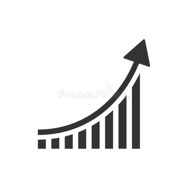 Icono cada vez mayor del gráfico de barra en estilo plano Aumente el illu del vector de la flecha ilustración del vector