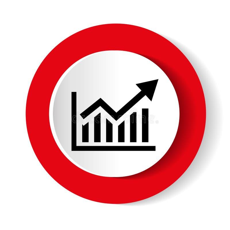 Icono cada vez mayor del gráfico del icono del gráfico del vector Símbolo de la carta del analytics del negocio ilustración del vector