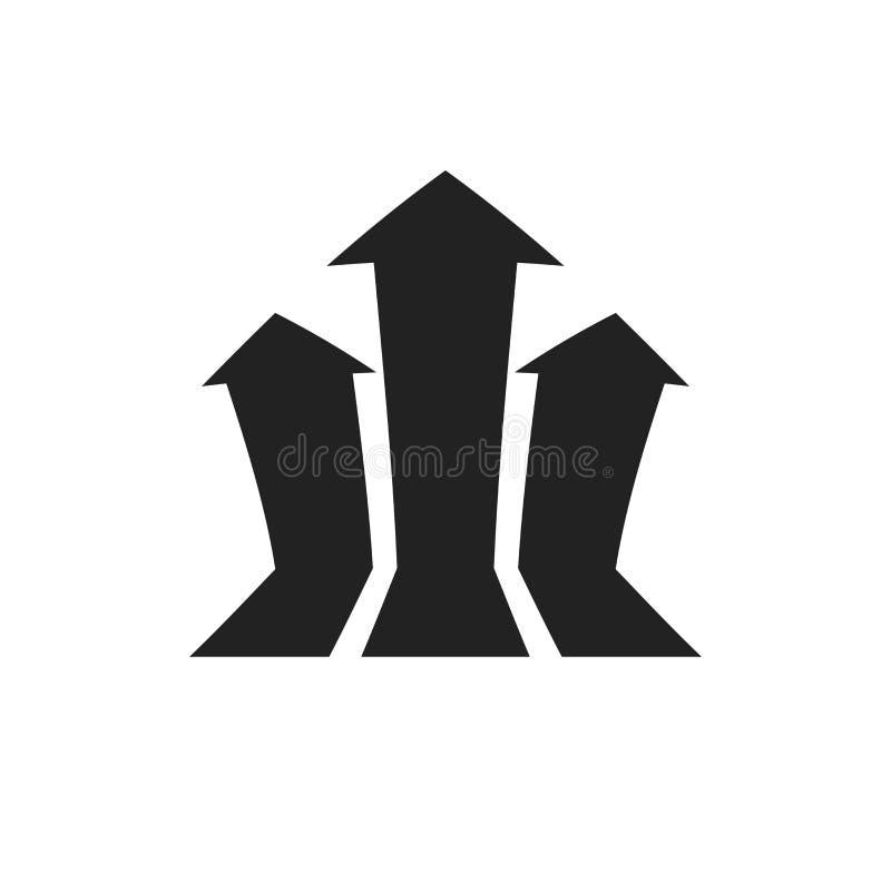 Icono cada vez mayor del vector del gráfico de la flecha La flecha del progreso crece el illust de la muestra stock de ilustración