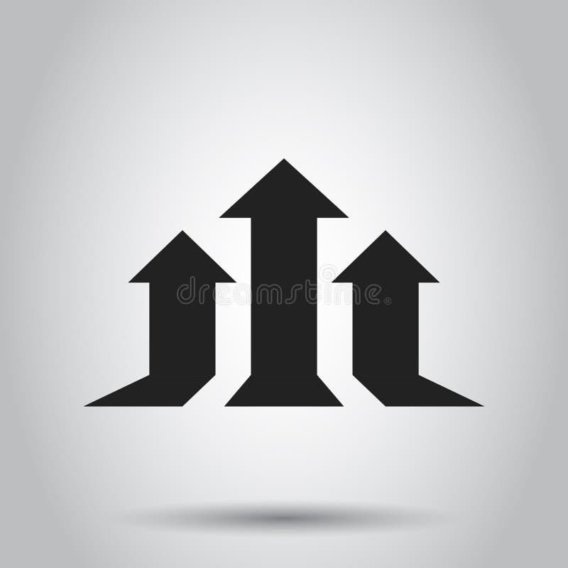 Icono cada vez mayor del vector del gráfico de la flecha La flecha del progreso crece el illust de la muestra ilustración del vector
