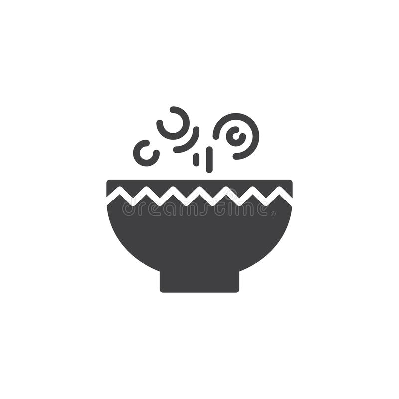 Icono caliente del vector del cuenco de sopa ilustración del vector