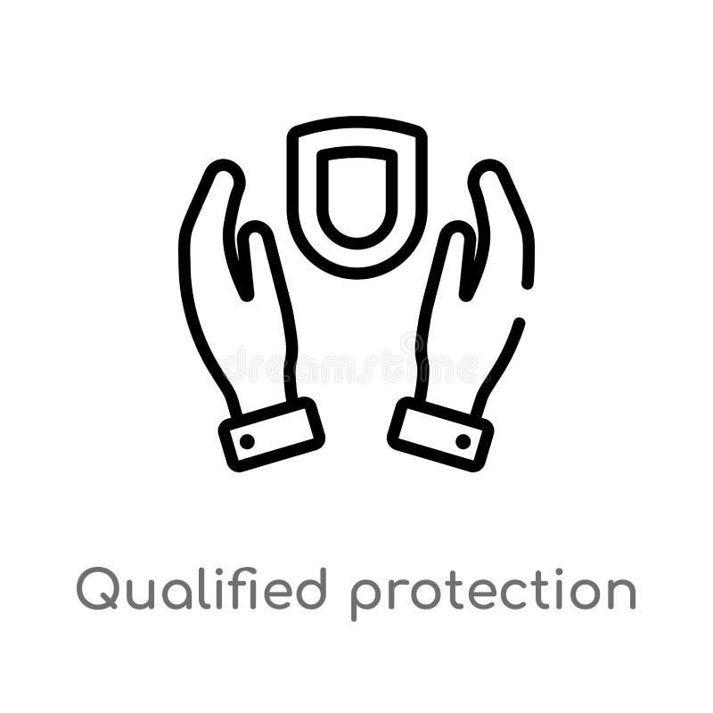icono calificado esquema del vector de la protección línea simple negra aislada ejemplo del elemento del concepto de la ley y de  stock de ilustración