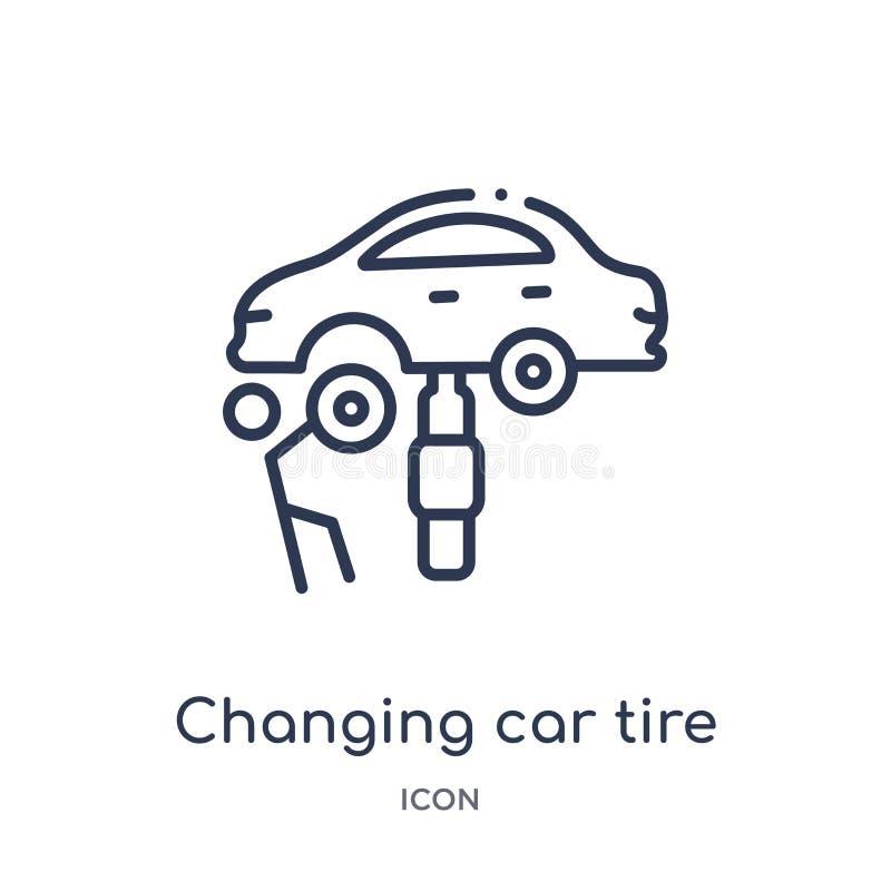 Icono cambiante linear del neumático de coche de la colección del esquema de Mechanicons Línea fina icono cambiante del neumático stock de ilustración