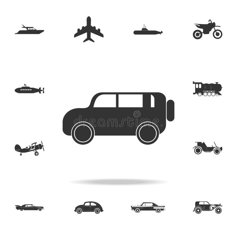 Icono campo a través del coche del safari Sistema detallado de iconos del transporte Diseño gráfico de la calidad superior Uno de libre illustration