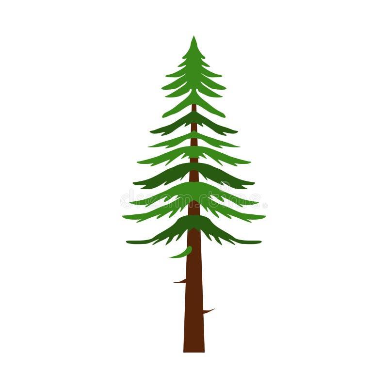 Icono canadiense del abeto, estilo plano stock de ilustración