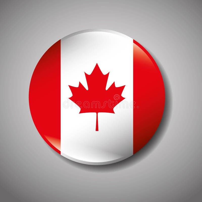 Icono canadiense del botón de la bandera libre illustration