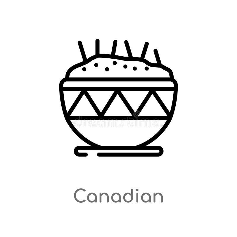 icono canadiense del vector del esquema línea simple negra aislada ejemplo del elemento del concepto de la comida canadiense edit stock de ilustración