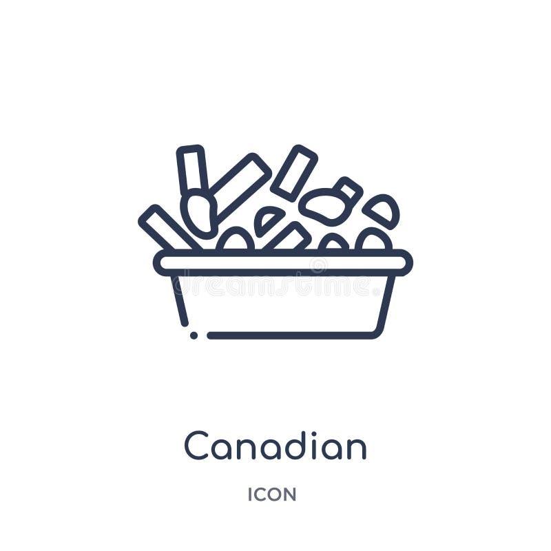 Icono canadiense linear de la colección del esquema de la comida Línea fina icono canadiense aislado en el fondo blanco de moda c stock de ilustración