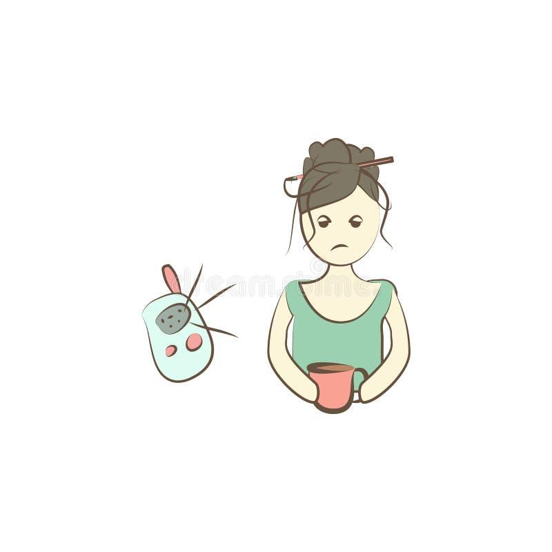 Icono cansado de la mamá Elemento del icono del día de la madre para los apps móviles del concepto y del web El icono cansado col ilustración del vector