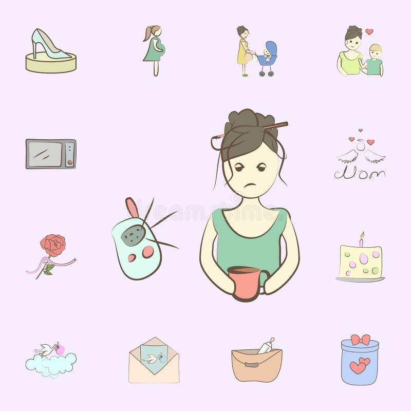 Icono cansado de la mam? sistema universal de los iconos de la madre para la web y el m?vil ilustración del vector