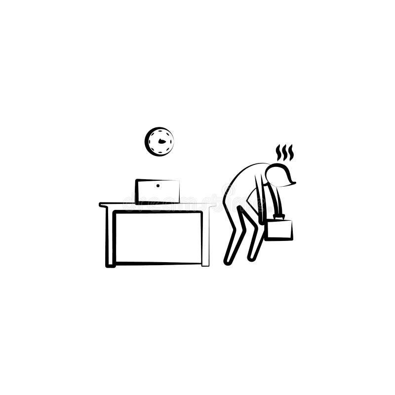 Icono cansado del esquema del tiempo del final del hombre de la oficina Elemento del ejemplo de la vida de la oficina Icono super libre illustration