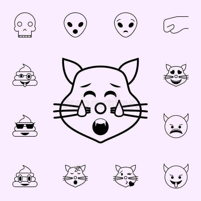 icono cansado del gato Sistema universal de los iconos de Emoji para la web y el m?vil stock de ilustración