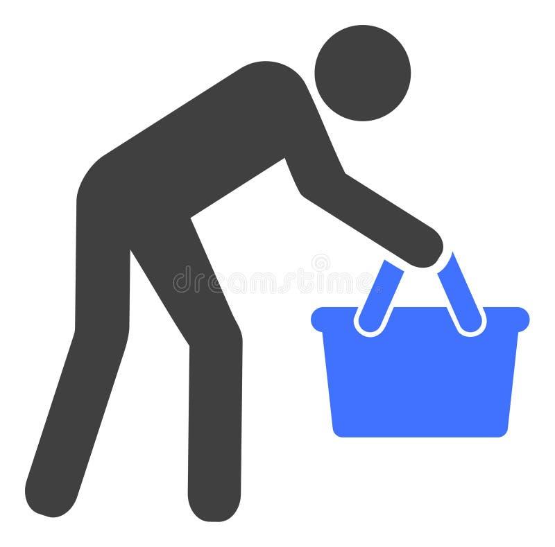 Icono cansado del personaje del comprador del vector ilustración del vector