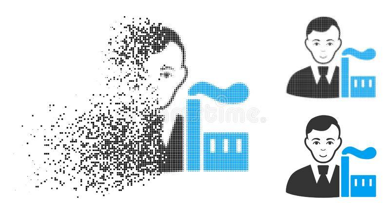 Icono capitalista de semitono Destructed del oligarca del pixel con la cara libre illustration